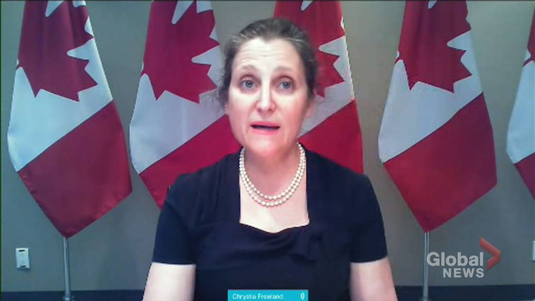 Click to play video: 'All airlines eligible for loan to help refund customers impacted by COVID-19 pandemic: Freeland'