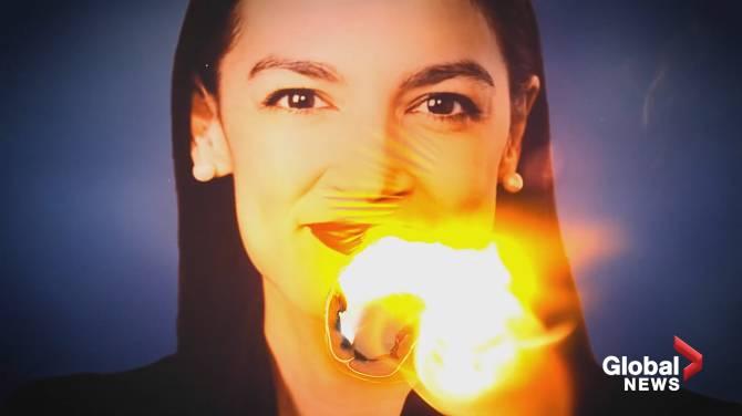 Photo of Alexandria Ocasio-Cortez set ablaze in attack ad aired during Democratic debate
