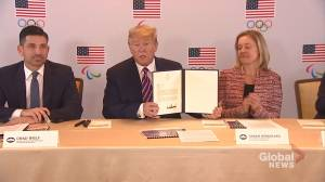 Trump signs document pledging U.S. government's support for 2028 Olympics