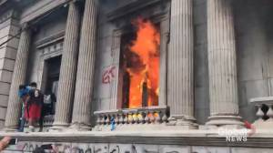 Protesters set fire to Guatemala's congress building amid outcry over budget (01:49)