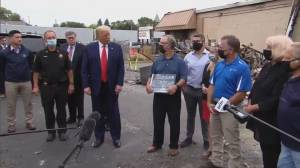 Trump visits Kenosha, does not meet with Jacob Blake's family (02:28)