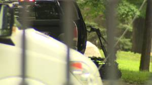 Bomb disposal robot investigates vehicle on the grounds of Rideau Hall