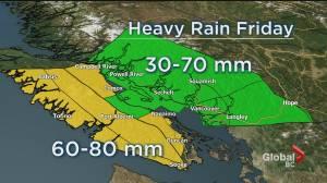 First big rainstorm of the season on its way to B.C. (01:45)