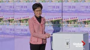 Hong Kong leader Carrie Lam casts her vote in local elections