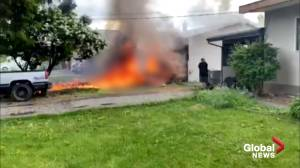Video appears to show fiery aftermath of CF Snowbird jet crash in Kamloops, B.C.