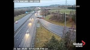 U.K. truck makes dangerous U-turn on highway, driver gets 6 months in jail (01:02)