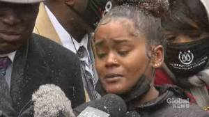 'They stole my son's dad from him:' Mother of Daunte Wright's son speaks out after his death (00:31)