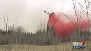 Wildfire rages west of Edmonton as a windy night is expected (02:48)