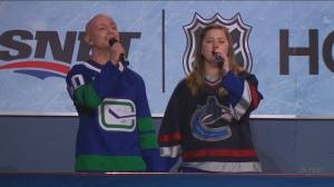 Frontline workers sing national anthem at Canucks home opener (04:14)