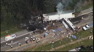 Raw video: Aerials of massive crash in Tennessee