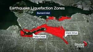 False Creek threatened by liquefaction in major earthquake