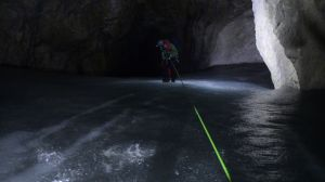 Ice Cave: Rappelling down the ice chute