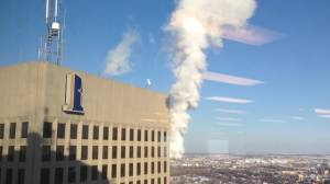 Steam pours out of Richardson Building