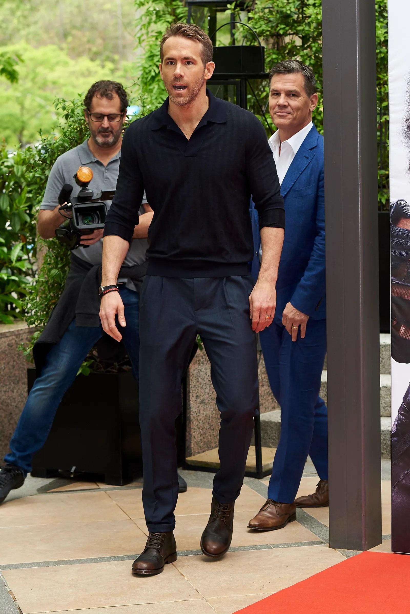 Ryan Reynolds and Josh Brolin attend the 'Deadpool 2' movie Photocall at Villamagna Hotel in Madrid on May 7 2018