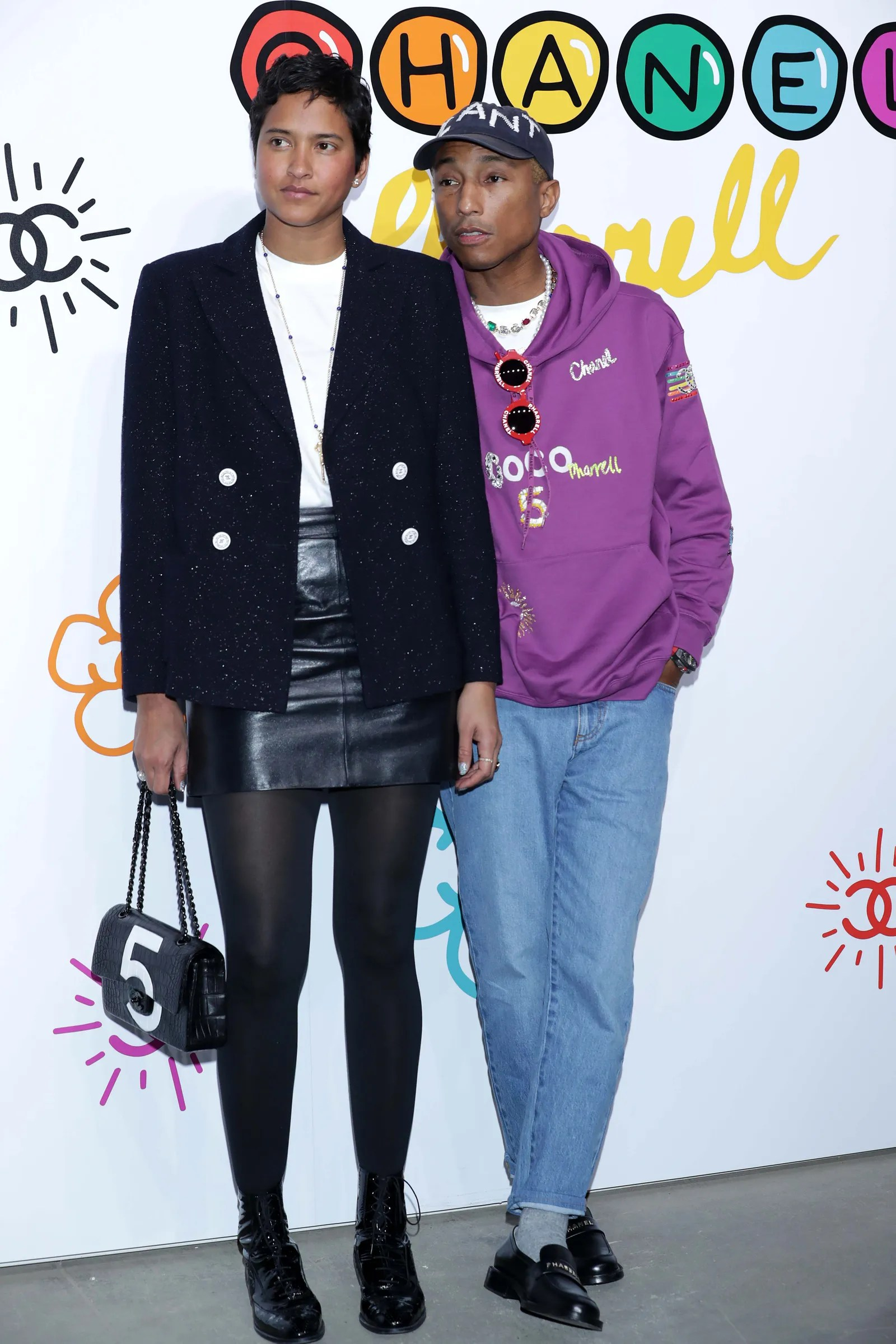 SEOUL SOUTH KOREA MARCH 28 Pharrell Williams and Helen Lasichanh attend the party for the launch of CHANEL X PHARRELL...