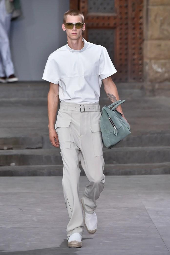 FLORENCE ITALY JUNE 11 A model walks the runway at the Salvatore Ferragamo fashion show in Piazza della Signoria during...