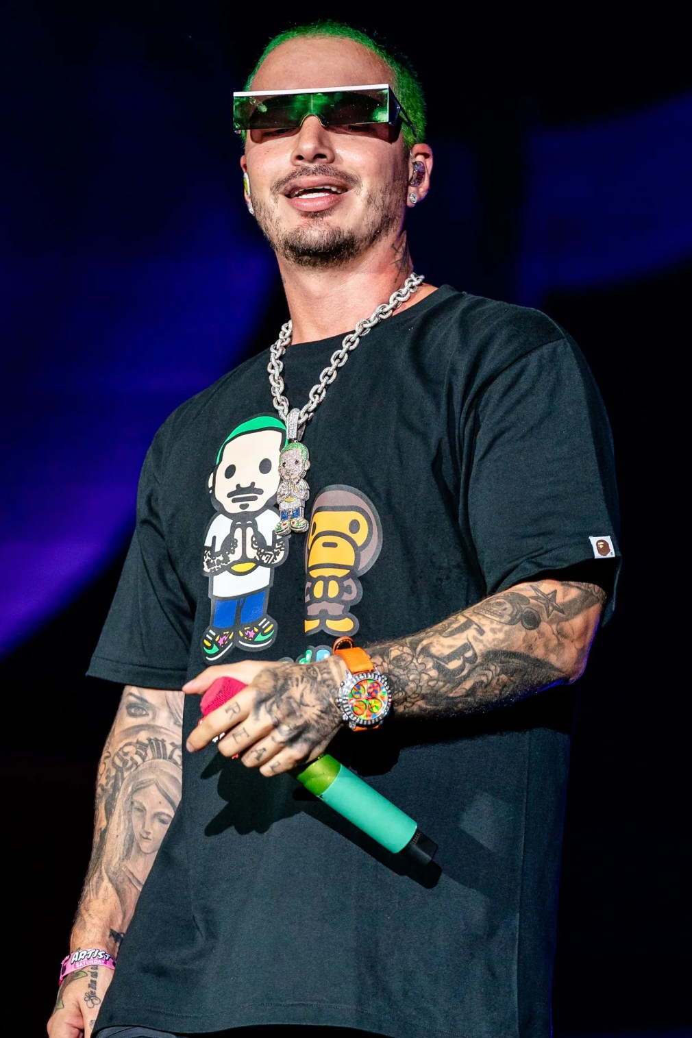 CHICAGO ILLINOIS  AUGUST 03 J Balvin performs at the Lollapalooza Music Festival at Grant Park on August 03 2019 in...
