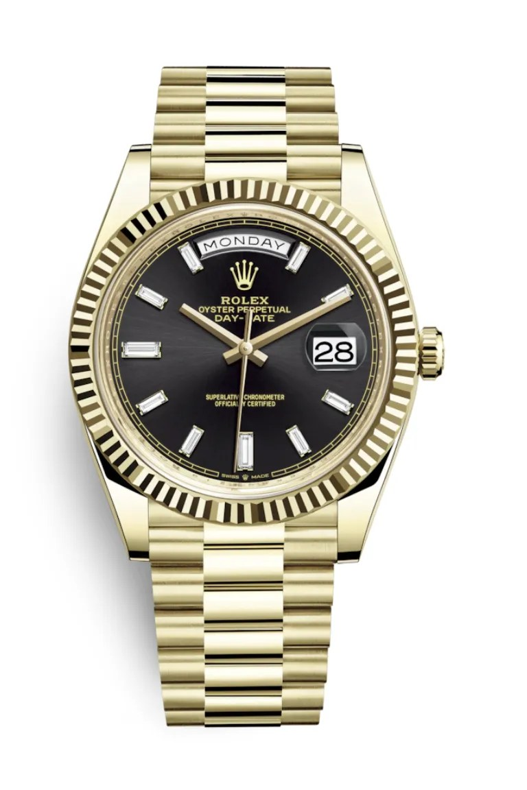 A gold and black watch
