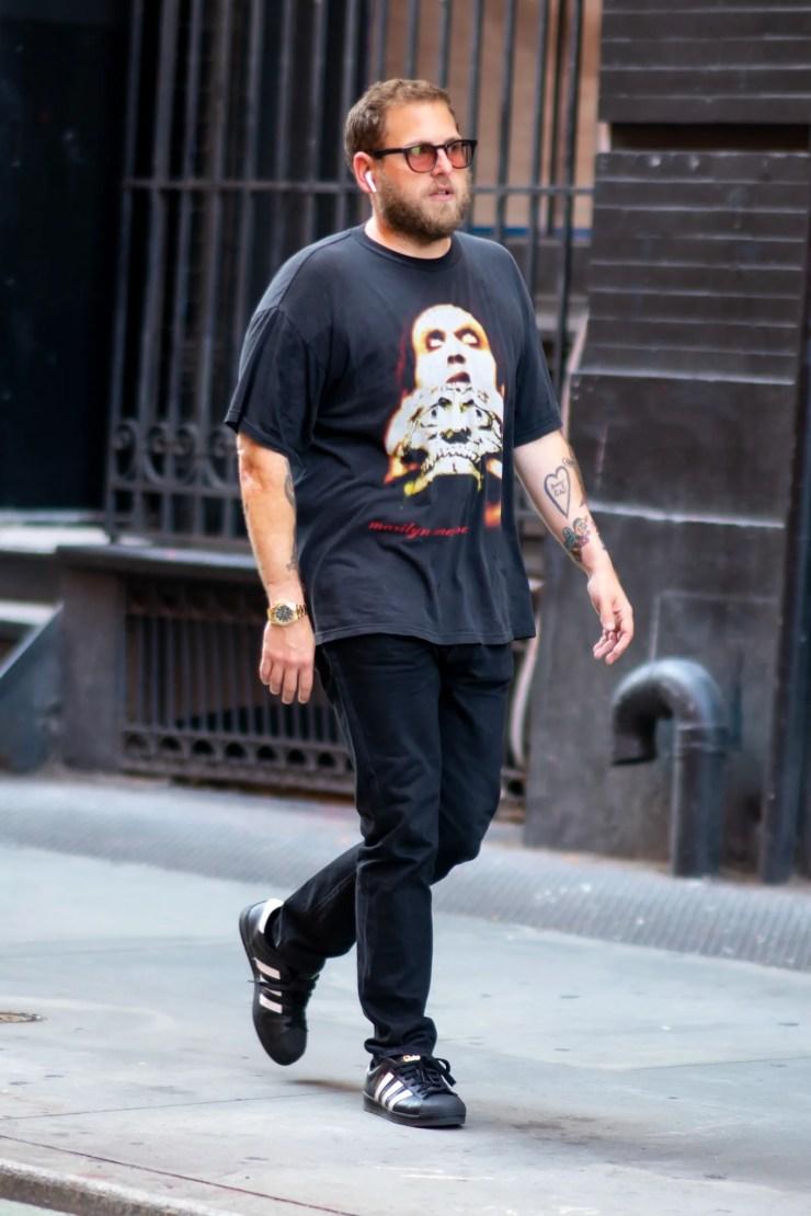 NEW YORK NEW YORK  SEPTEMBER 11 Jonah Hill is seen in SoHo on September 11 2019 in New York City.