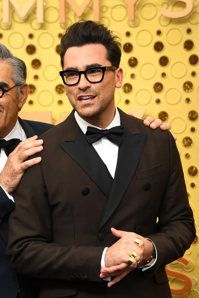 LOS ANGELES CALIFORNIA  SEPTEMBER 22  Eugene Levy  and Dan Levy attend the 71st Emmy Awards at Microsoft Theater on...