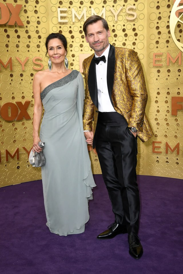 LOS ANGELES CALIFORNIA  SEPTEMBER 22  Nukaaka CosterWaldau and Nikolaj CosterWaldau attend the 71st Emmy Awards at...