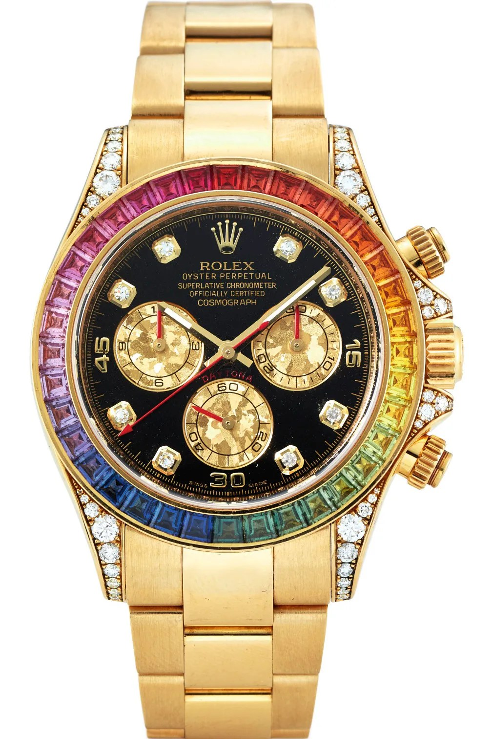A gold watch with a rainbow dial