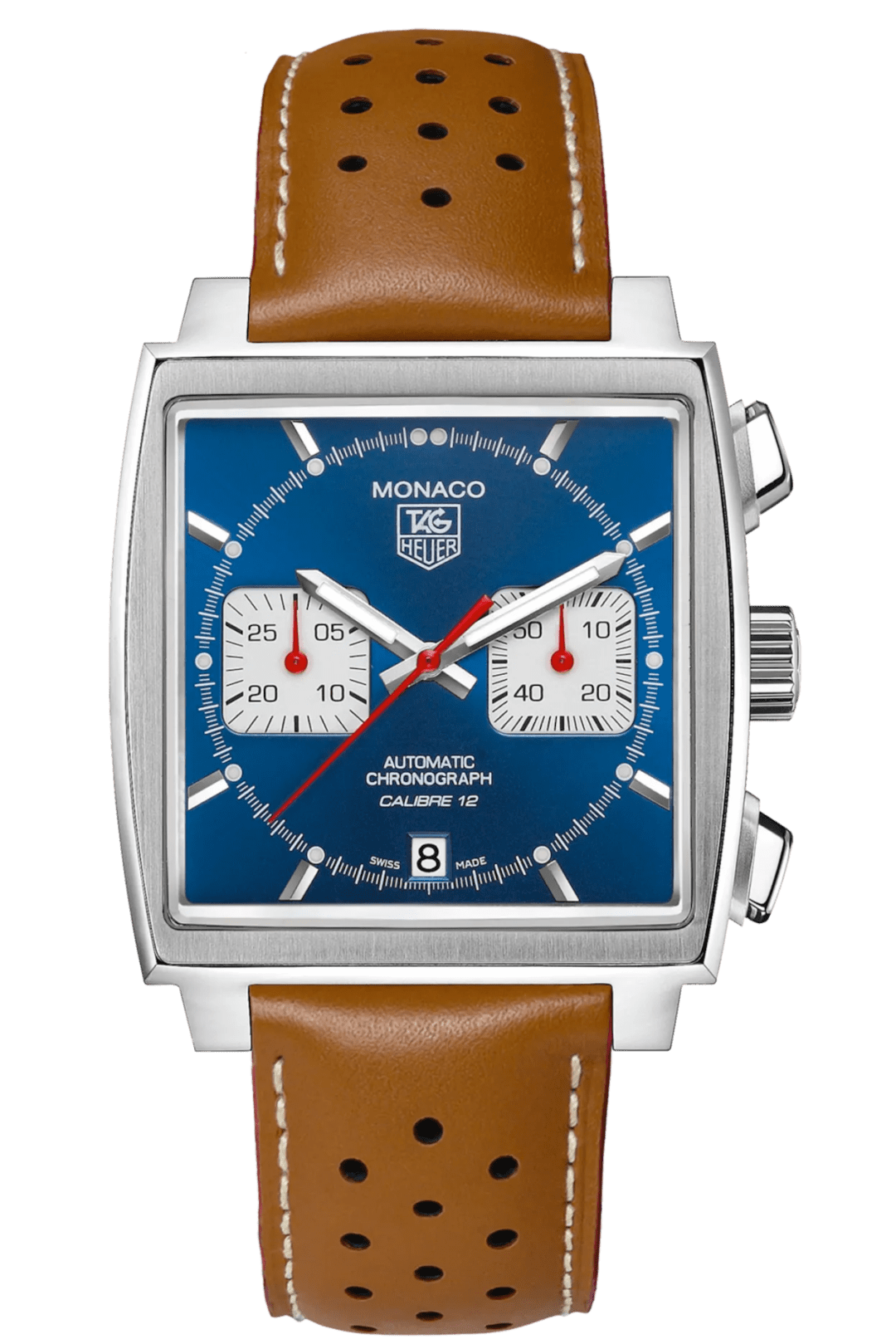 A silver and blue watch