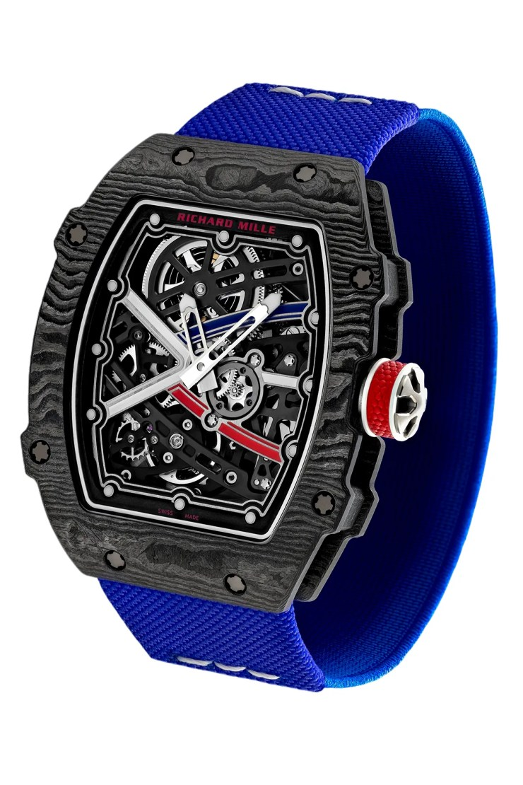 A black watch with a blue strap and transparent face