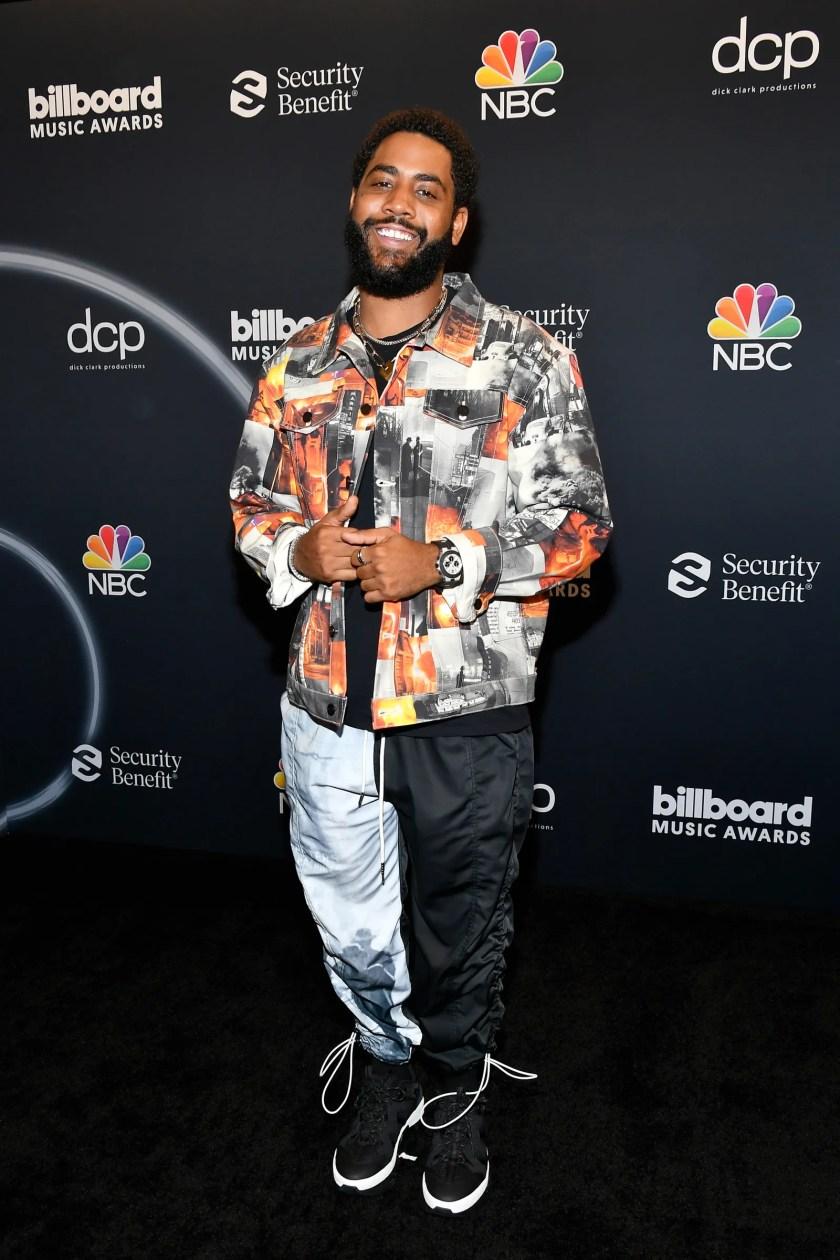 Jharrel Jerome poses backstage at the 2020 Billboard Music Awards
