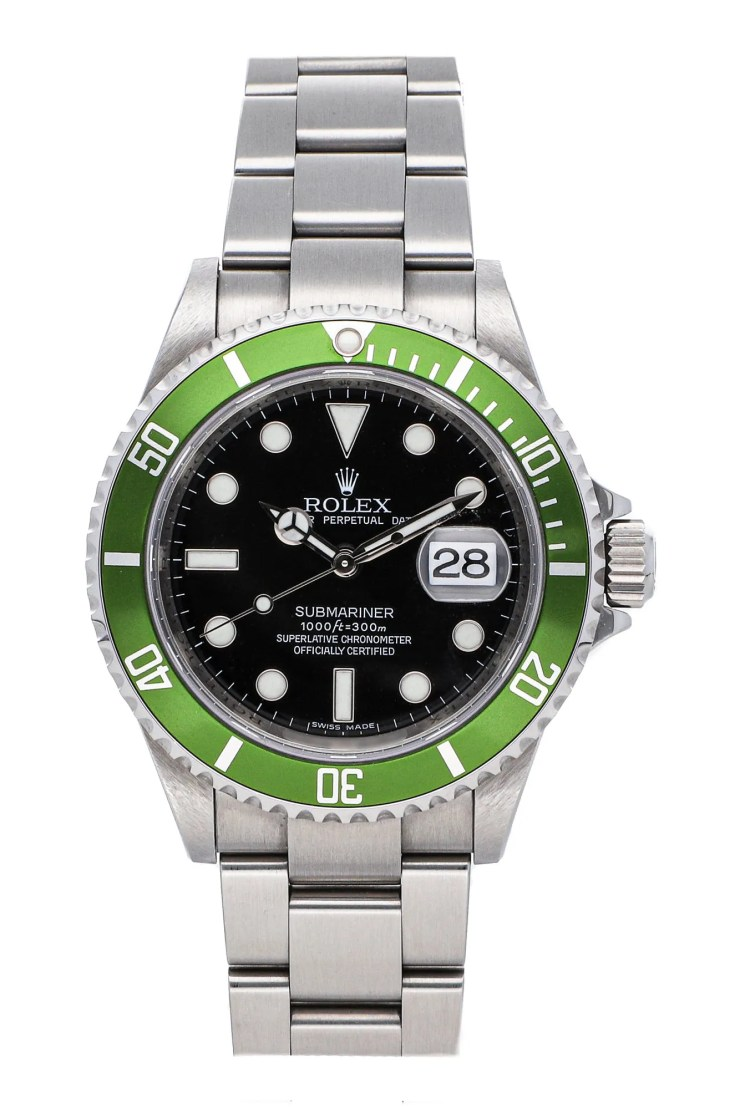 A silver watch with a lime green bezel and black face