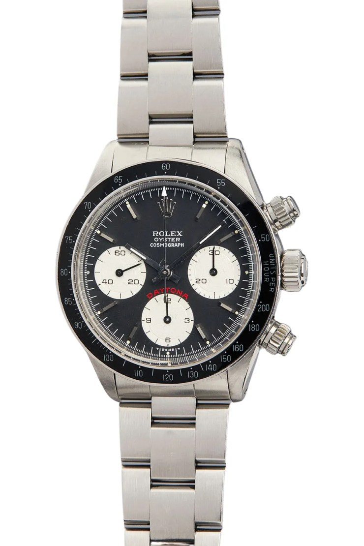 A steel rolex with a black bezel and face