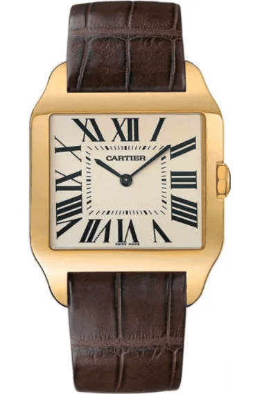 A gold cartier watch with a white face