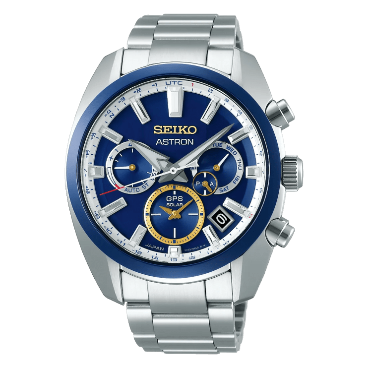 A silver seiko with a blue bezel and blue face