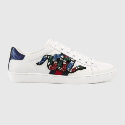 18708794966 Ace Embroidered Sneaker In White Leather With Blue And Red Web