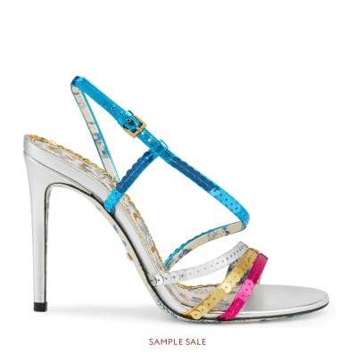 Metallic leather sandal with sequins