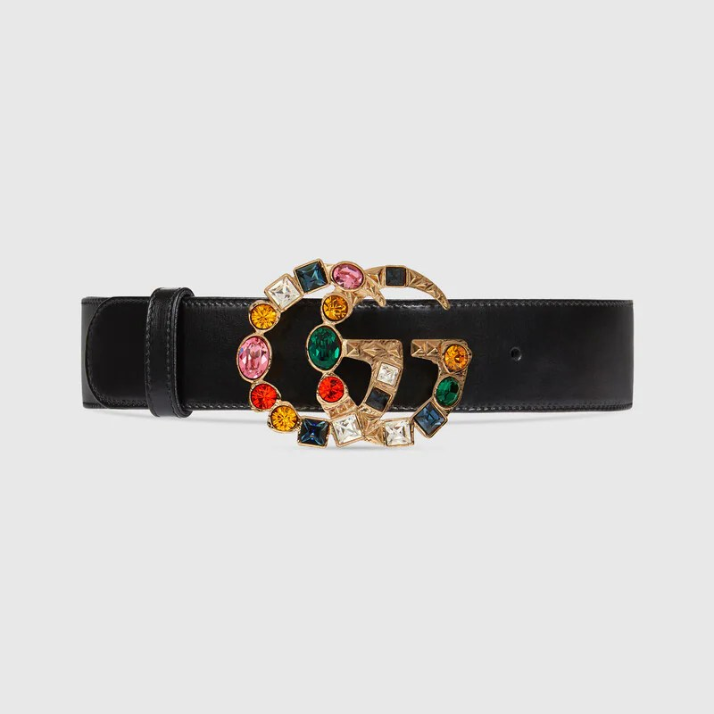 c72f9382f Leather Belt With Crystal Double G Buckle In Black Leather Gucci View 1