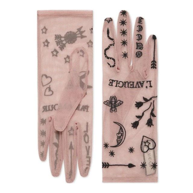 Tulle gloves with symbols embroidery, $175