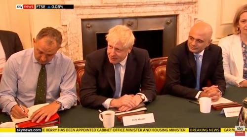 Left to right: Sir Mark Sedwill, Boris Johnson, Sajid Javid