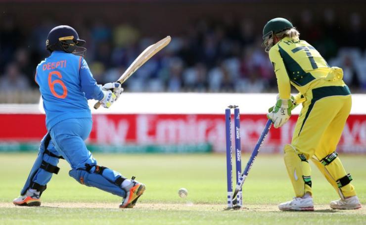 Deepti Sharma, bowled by Elyse Villani for 25.