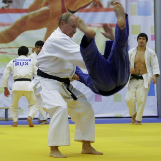 Vladimir Putin takes part in a judo training session.