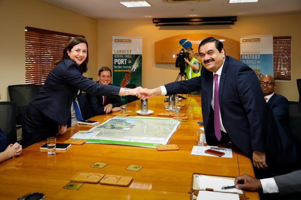 Adani Group chairman Gautam Adani meets with Queensland premier Annastacia Palaszczuk in 2016.