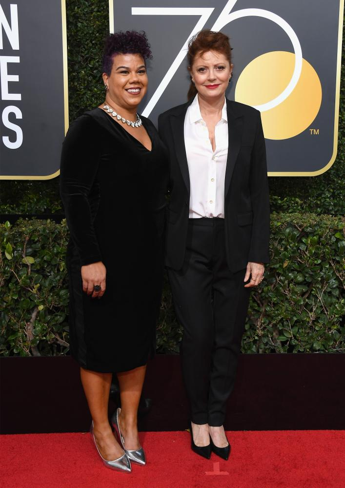 Actor Susan Sarandon and activist Rosa Clemente arrive together