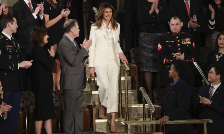 First lady Melania Trump arrives at the State of the Union address.