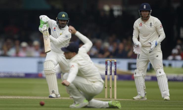 Pakistan's Haris Sohail hits 4 runs off the bowling of England's Dom Bess.