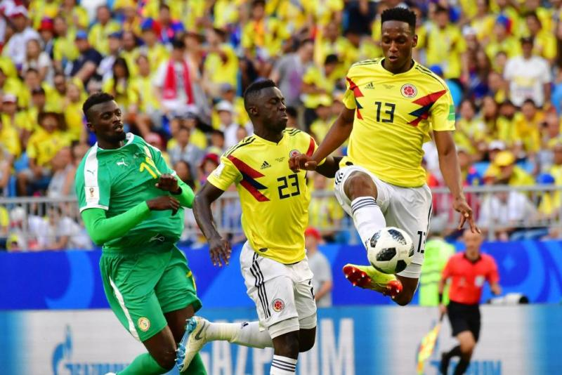 Colombia's defender Yerry Mina clears the ball.