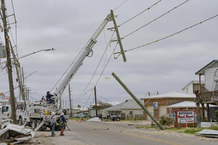 Crews work on restoring power in Louisiana.