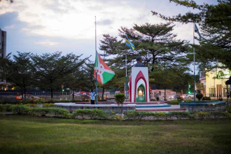 The Burundian national flag is taken down in downtown Bujumbura.