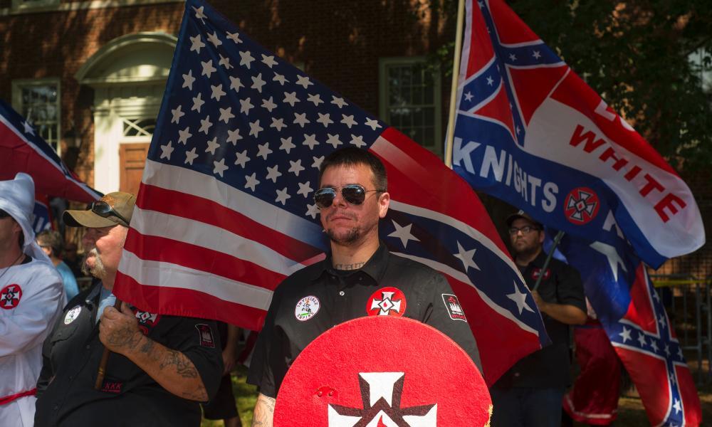 A KKK demonstrator at Emancipation Parkin Charlottesville on 8 July 2017.