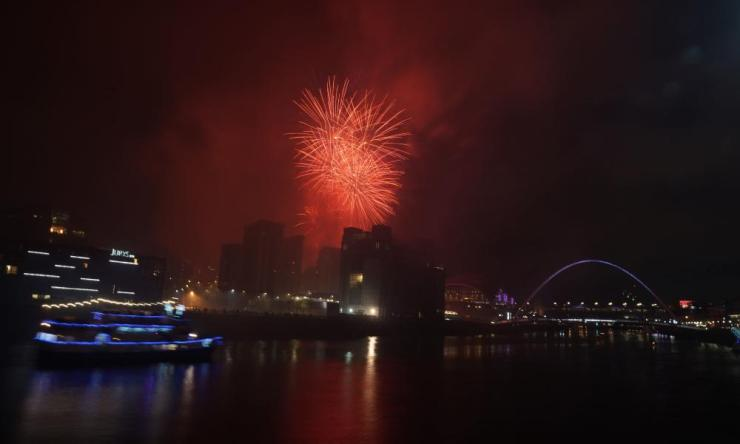Fireworks burst over the Tyne Bridge in Newcastle, as part of New Year celebrations in the city.