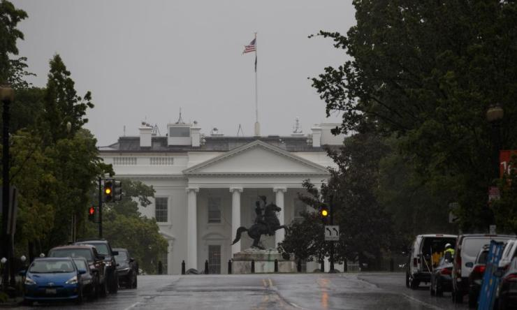 The White House on a rainy day in Washington D.C. April 30, 2020.